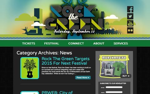 Screenshot of Press Page rockthegreen.com - News | Rock the Green - captured Sept. 30, 2014