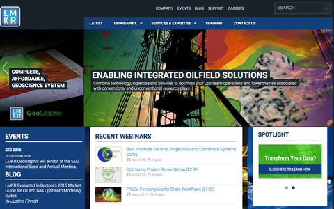 Screenshot of Home Page lmkr.com - LMKR - Enabling Integrated Oilfield Solutions - captured July 17, 2015