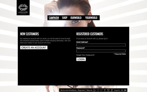 Screenshot of Login Page live-and-love.com - Live & Love  Customer Login - captured July 10, 2017