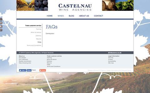 Screenshot of FAQ Page castelnau.co.uk - Castelnau Wine Agencies | FAQs - captured Oct. 26, 2016