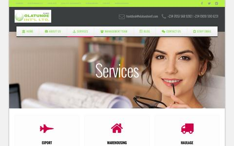 Screenshot of Services Page olatundeintl.com - Services | Olatunde Int'l Ltd - captured Dec. 6, 2016