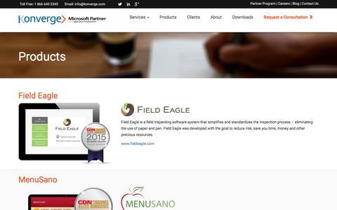 Screenshot of Products Page konverge.com - Custom Application Development, Custom Software | Konverge Products - captured Nov. 27, 2016
