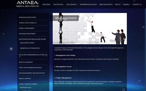 Screenshot of Team Page antaea.com - Management - ANTAEA | ANTAEA CONTRACT RESEARCH ORGANIZATION - captured Feb. 5, 2016