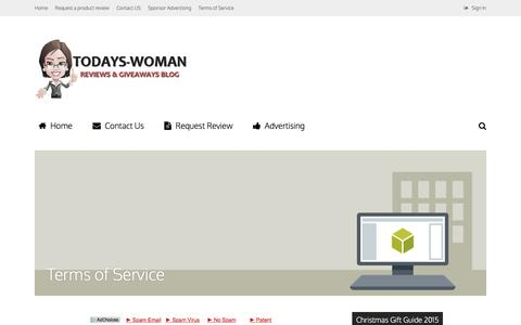 Screenshot of Terms Page todays-woman.net - Terms of Service - Today's Woman - captured Feb. 16, 2016