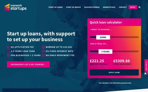 Screenshot of Home Page transmitstartups.co.uk - Start Up Business Loans & Mentoring | Transmit Start-Ups  - captured Jan. 4, 2020