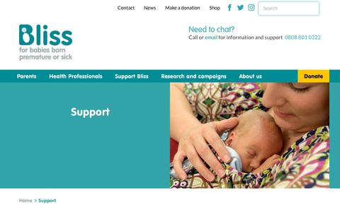 Screenshot of Support Page bliss.org.uk - Support | Bliss - captured Aug. 2, 2018