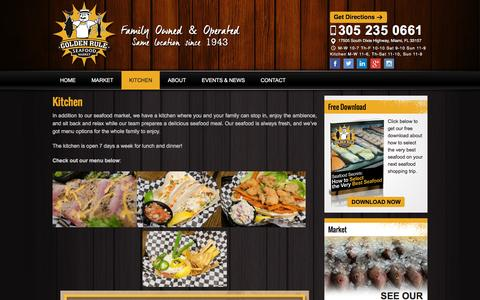 Screenshot of Menu Page goldenruleseafood.com - Kitchen - captured Dec. 10, 2015