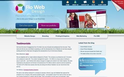 Screenshot of Testimonials Page flowebdesign.ie - Flo Web Design Ltd Website design, web development, graphic design Kells Navan Dublin Meath - captured Oct. 6, 2014
