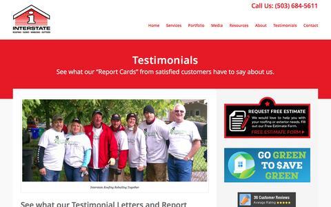 Screenshot of Testimonials Page interstateroofing.com - Testimonials - Interstate Roofing - captured Nov. 26, 2016