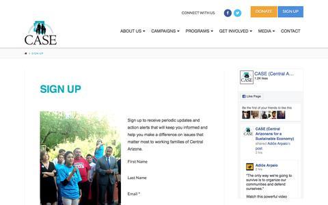 Screenshot of Signup Page case-az.org - Sign Up | CASE - captured Oct. 3, 2016