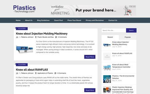 Screenshot of Blog plastics-technology.com - Plastics Technology Blog - captured July 14, 2016