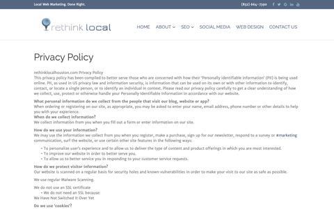 Screenshot of Privacy Page rethinklocalhouston.com - Privacy Policy - Rethink Local - captured Sept. 30, 2018