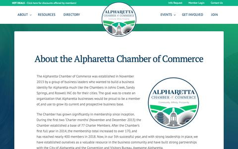 Screenshot of About Page alpharettachamber.com - About the Alpharetta Chamber of Commerce - Alpharetta Chamber of Commerce - captured Dec. 18, 2018