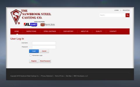 Screenshot of Login Page sawbrooksteel.com - User Log In - captured Nov. 17, 2016
