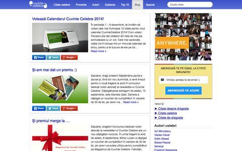 Screenshot of Blog cuvintecelebre.ro - Blog Cuvinte Celebre - captured Sept. 24, 2014