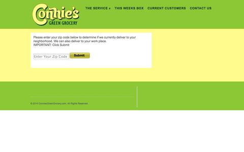 Screenshot of Signup Page conniesgreengrocery.com - ConniesGreenGrocery.com |   Sign Up - captured Sept. 30, 2014