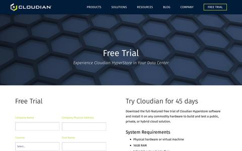 Screenshot of Trial Page cloudian.com - Free Cloud Services Trial | Cloudian - captured May 9, 2017