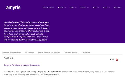 Screenshot of Press Page amyris.com - Amyris to Participate in Investor Conferences   Amyris - captured May 24, 2019
