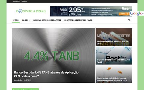 Screenshot of Home Page depositoaprazo.com - Depósito a Prazo - Os melhores depósitos a prazo - captured Oct. 8, 2015