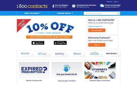 Screenshot of Home Page 1800contacts.com - Contact Lenses at 1-800 CONTACTS   World's Largest Contact Lens Store® - captured June 20, 2017