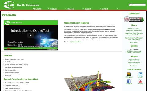 Screenshot of Products Page dgbes.com - dGB Earth Sciences - Products - captured Oct. 5, 2014