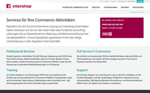 Screenshot of Services Page intershop.de - Intershop Commerce-Services - Intershop Communications AG - captured Aug. 26, 2016