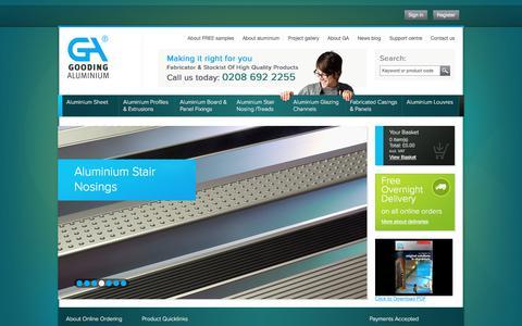 Screenshot of Home Page goodingalum.com - Aluminium Profiles   Aluminium Sheets   Anodised Aluminium   Aluminium Extrusions From Gooding Aluminium - captured June 29, 2017