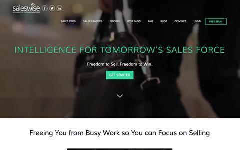 Screenshot of Home Page saleswise.com - Saleswise   The Relationship Intelligence Platform     SalesWise - captured Jan. 26, 2016