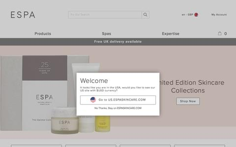 Screenshot of Home Page espaskincare.com - ESPA | Natural Skincare & Luxury Beauty Products - captured Sept. 22, 2017
