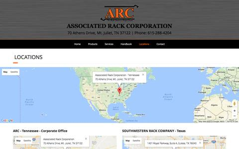 Screenshot of Locations Page associatedrack.com - Locations – Associated Rack Corporation - captured Nov. 21, 2016