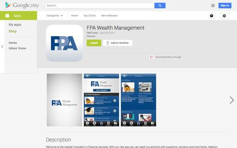 Screenshot of Android App Page google.com - FPA Wealth Management - Android Apps on Google Play - captured Oct. 23, 2014