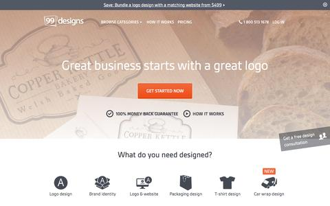 Screenshot of Home Page 99designs.com - Logo Design, Web Design and More. | 99designs - captured Oct. 2, 2015