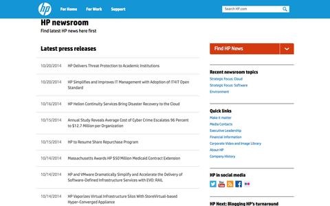 Screenshot of Press Page hp.com - News, Technology News, Videos, Podcasts | HP Newsroom - captured Oct. 22, 2014