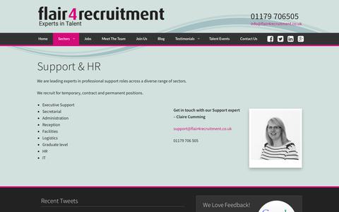 Screenshot of Support Page flair4recruitment.co.uk - Support & HR - Flair 4 Recruitment: Experts in TalentFlair 4 Recruitment: Experts in Talent - captured July 13, 2018