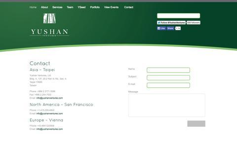 Screenshot of Contact Page yushanventures.com - Contact - Yushan Ventures - captured Oct. 7, 2014