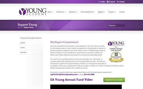 Screenshot of Support Page eayoungacademy.com - Support Young - captured May 11, 2017