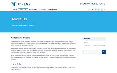 Screenshot of About Page tryzens.com - About Us - Tryzens - Clear Commerce Sense - captured Oct. 30, 2014