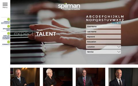 Screenshot of Team Page spilmanlaw.com - Full Service Law Firm In WV, PA, VA, NC  - Spilman Thomas & Battle - captured Oct. 27, 2017