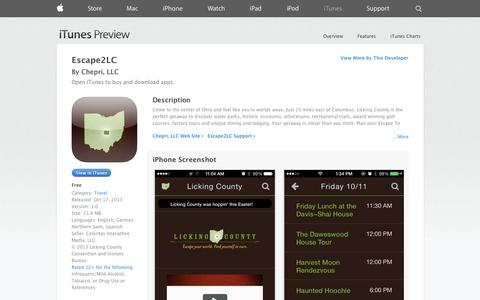 Screenshot of iOS App Page apple.com - Escape2LC on the App Store on iTunes - captured Oct. 22, 2014