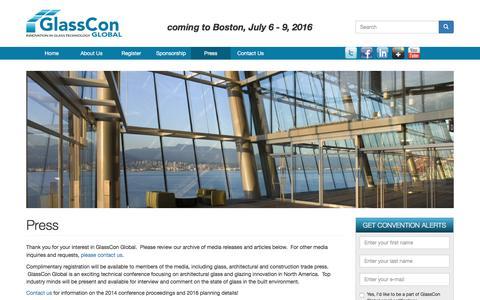 Screenshot of Press Page glassconglobal.com - Press | GlassCon Global Conference - captured Dec. 9, 2015