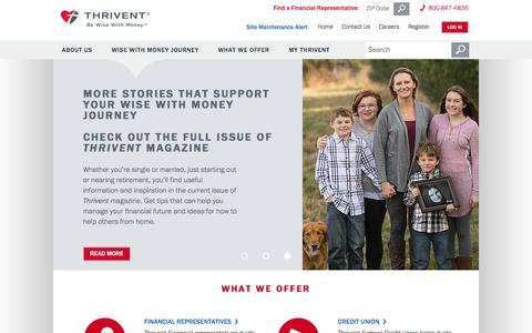 Screenshot of Home Page thrivent.com - Thrivent | Be Wise with Money | Financial Guidance - captured April 15, 2018