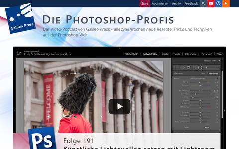 Screenshot of Home Page photoshop-profis.de - Rezepte, Tricks und Techniken zu Photoshop von Galileo Design. Die Photoshop-Profis - captured Sept. 19, 2014