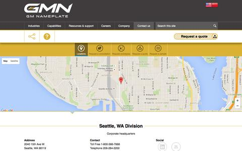 Screenshot of Contact Page Locations Page gmnameplate.com - Locations | GMN - captured July 10, 2016