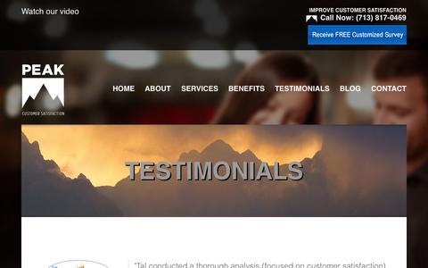 Screenshot of Testimonials Page peakcustomersatisfaction.com - Service Advisor   Customer Management Solutions   Client Satisfaction   90046   Peak Customer Satisfaction - captured Sept. 29, 2014