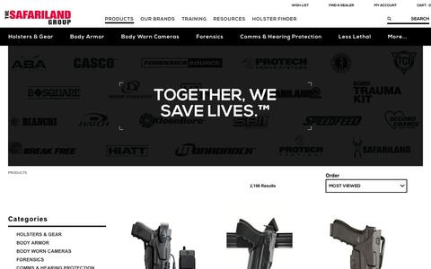 Screenshot of Products Page safariland.com - Law Enforcement Gear | The SAFARILAND Group - captured Nov. 2, 2016