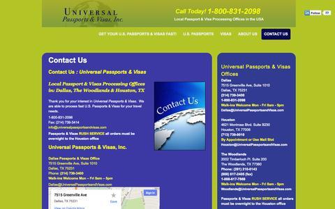 Screenshot of Contact Page universalpassportsandvisas.com - Houston, The Woodlands & Dallas Passports & Visas Local Offices | Universal Passports and Visas | 1-800-831-2098 | China Visas | India Visas | Russia Visas | Saudi Arabia Visas | US Passport Services - captured Sept. 30, 2014