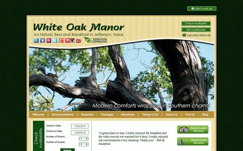 Screenshot of Contact Page Maps & Directions Page bedandbreakfastjeffersontx.com - White Oak Manor; Our Bed and Breakfast in East Texas - captured Dec. 2, 2016