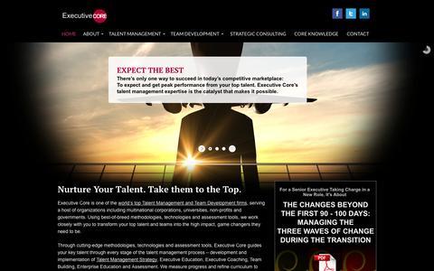 Screenshot of Home Page executive-core.com - Executive Talent Management and Team Development - captured Jan. 21, 2015