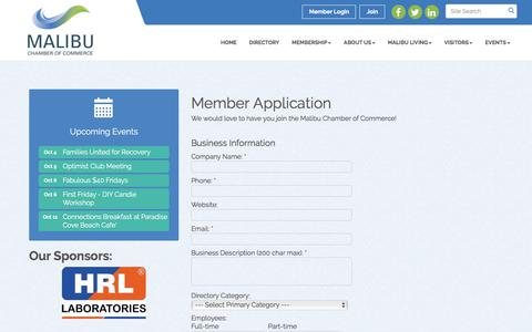 Screenshot of Signup Page malibu.org - Member - Malibu Chamber of Commerce, CA - captured Oct. 5, 2017