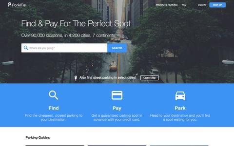 Screenshot of Home Page parkme.com - ParkMe - captured July 7, 2016